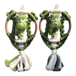 Woven Green Owl Wall Hangings - A Pair