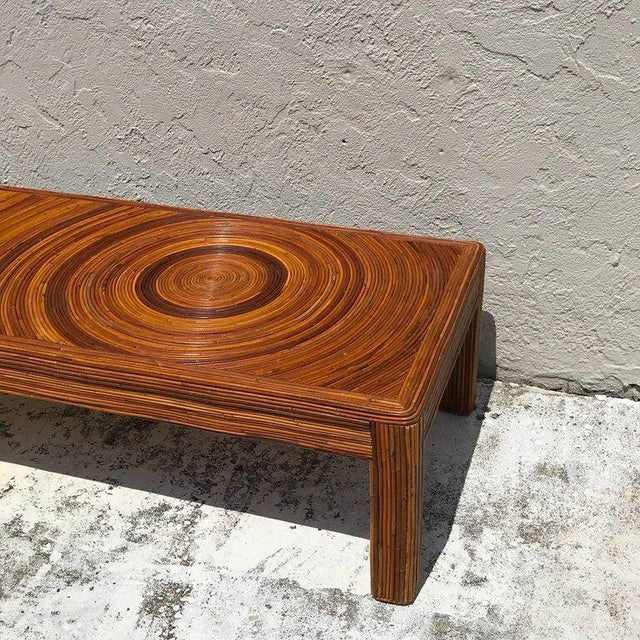 Crespi Style Split Bamboo Long Coffee Table For Sale - Image 9 of 11