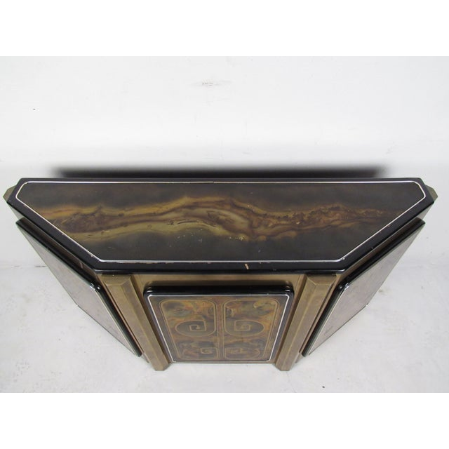 Mid-Century Modern Stunning Mastercraft Demilune Console Cabinet by Bernhard Rohne For Sale - Image 3 of 13