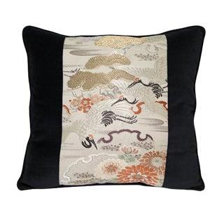 Vintage Obi Crane Design Pillow For Sale