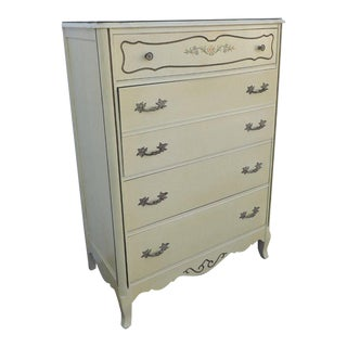 French Painted Flowers Chest of Drawers by Bassett For Sale