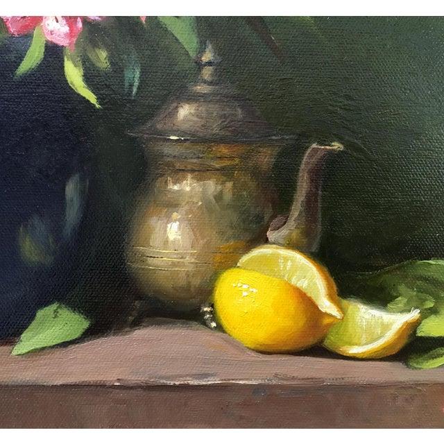 Alstroemeria, Lemons & Silver Teapot Oil Painting - Image 3 of 7