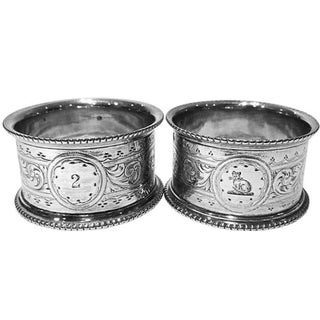 Antique Napkin Rings with Cat Crest - A Pair For Sale