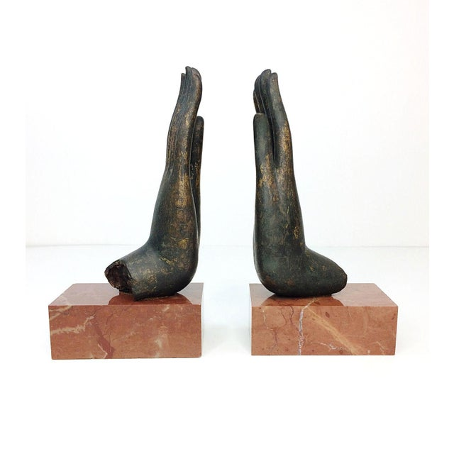 Mottahedeh Italian Bronze Hand & Marble Bookends-A Pair - Image 4 of 8