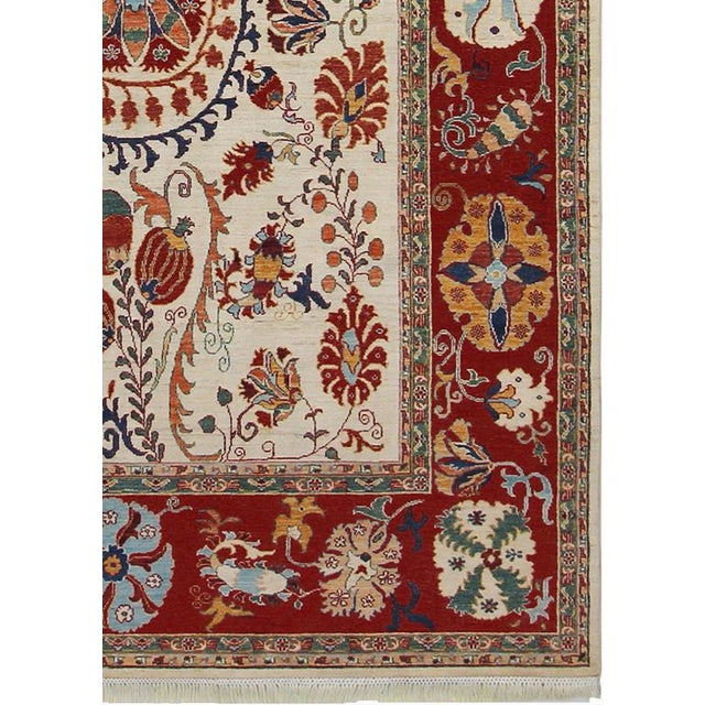 Kurjean Garish Herman Ivory/Red & Wool Rug 6'9 X 9'10 A8283 For Sale In New York - Image 6 of 7