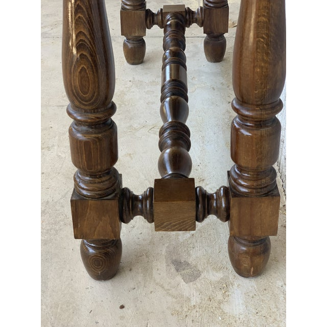 19th Spanish Walnut Console Table With Two Drawers For Sale - Image 11 of 12