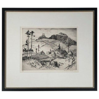 """Mountain Farms Near Spruce Pine, North Carolina"" Etching by Harrison Cady For Sale"