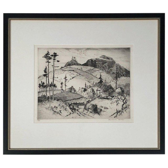 """""""Mountain Farms Near Spruce Pine, North Carolina"""" Etching by Harrison Cady For Sale"""
