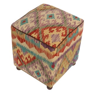 Art Deco Frederic Handmade Tan and Red Kilim Upholstered Ottoman