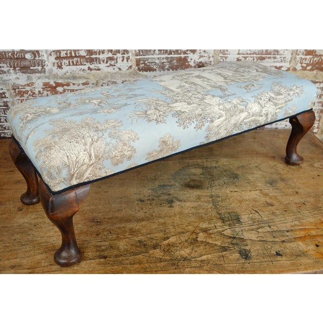 Late 19th Century Queen Anne Style Upholstered Long Footstool For Sale - Image 10 of 13