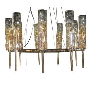 Contemporary Cyan Design Rose Gold Glass Eight Light Chandelier