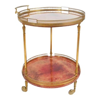 Aldo Tura Bar Cart or Side Table, circa 1960 with Removable Glass Tray For Sale