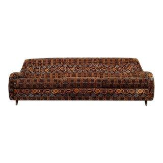 Vintage 1960s Danish Boho Velvet Flocked Sofa For Sale