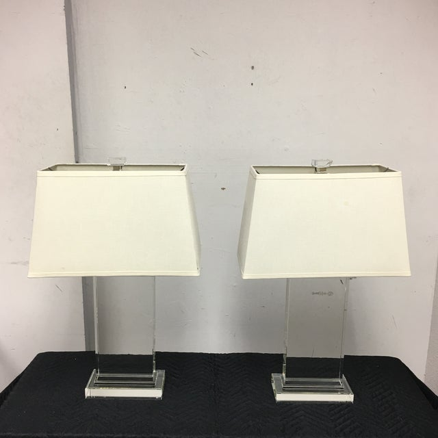 Design Plus Gallery presents a pair of Restoration Hardware Crystal Pier table lamps. The virtually invisible lamps. These...