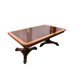 1980s Regency Baker Furniture Mahogany Dining Room Table For Sale