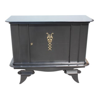 1940s French Art Deco Ebonized Dry Bar / Sideboard For Sale