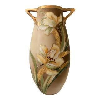 Art Nouveau Floral Gilt Moriage Handled Vase