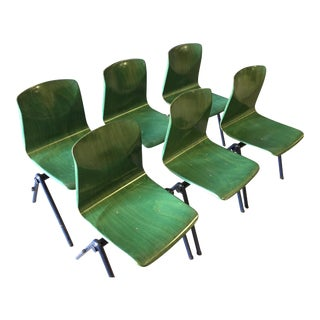 Six Vintage Industrial Dining Chairs, Office Chairs - Set of Stacking Chairs, Holland Circa 1960 For Sale