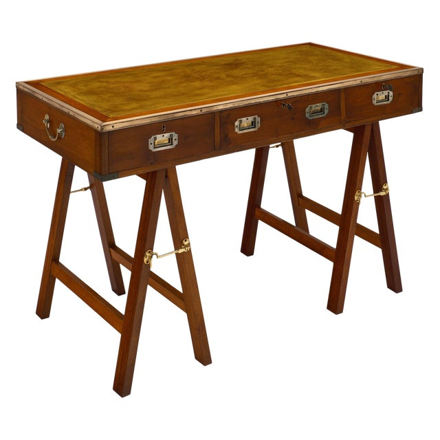 Campaign Style Vintage Writing Desk For Sale