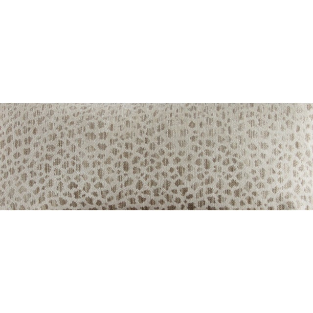 This custom lumbar pillow is made with an ivory cheetah print chenille with self-piping. The rich fabric is sure to add a...