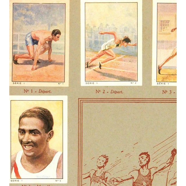 Complete set of chocolate bar trading cards from Nestlé Chocolates in France, 1935. Color lithographs show scenes of track...