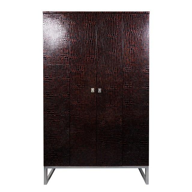 Patent crocodile print leather display cabinet with suede interior, bi-fold doors and adjustable shelves - designed by Eliská