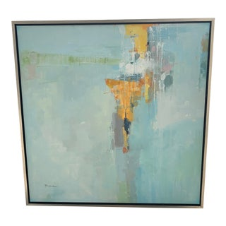 Original Abstract Oil on Canvas in Floating Silver Gilt Frame For Sale