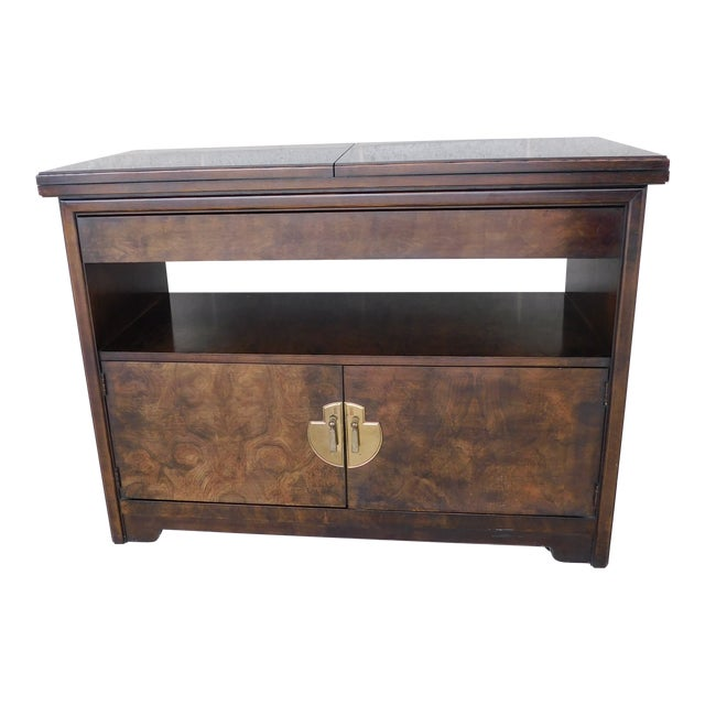 Thomasville Campaign Style Burl Walnut Flip Top Rolling Server For Sale