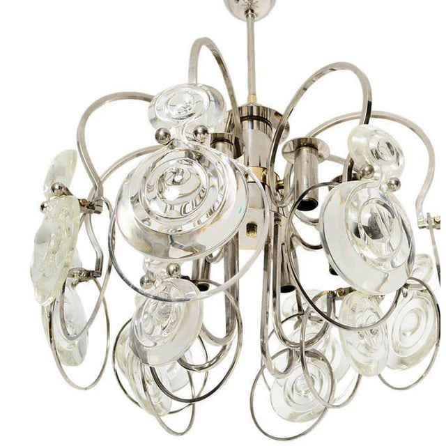 For you consideration an Italian chandelier in the style of Sciolari. Nickel plated with some brass accent pieces and...