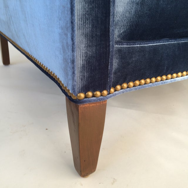 Mid-Century Blue Velvet Club Chairs - A Pair - Image 5 of 10