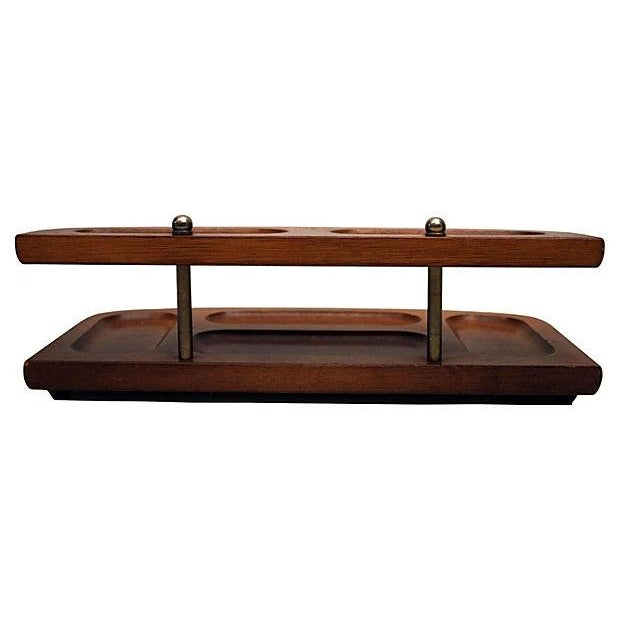 Teak And Brass 2-Tier Desk Tray - Image 4 of 4