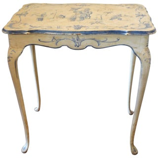 19th C. Louis XV Style Blue Chinoiserie Side Table