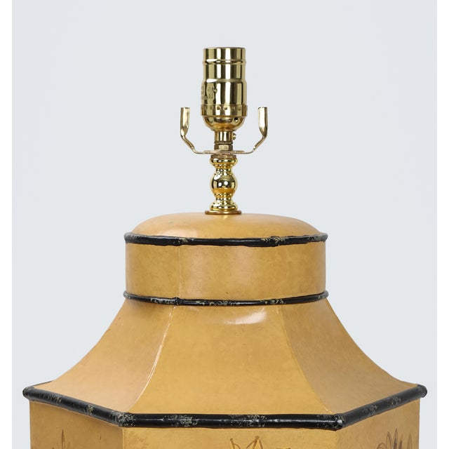 Metal Vintage English Export Chinoiserie Style Yellow Hexagonal Tea Caddy Lamp For Sale - Image 7 of 10