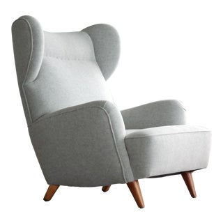 Gio Ponti Style Midcentury Lounge Chair Re-Upholstered in Kvadrat Wool