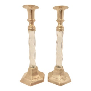 Vintage Brass and Lucite Candle Holders For Sale