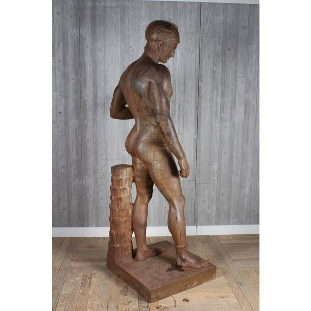 Figurative Monumental French Iron Statue of a Classical Greek or Roman Male Nude, 19th Century For Sale - Image 3 of 6