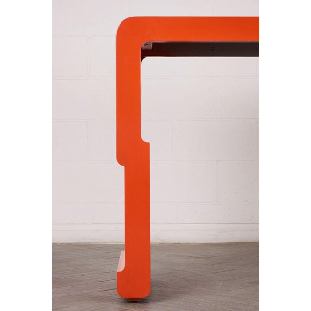 Chinese Console Table With Orange Lacquered Finish For Sale - Image 4 of 7