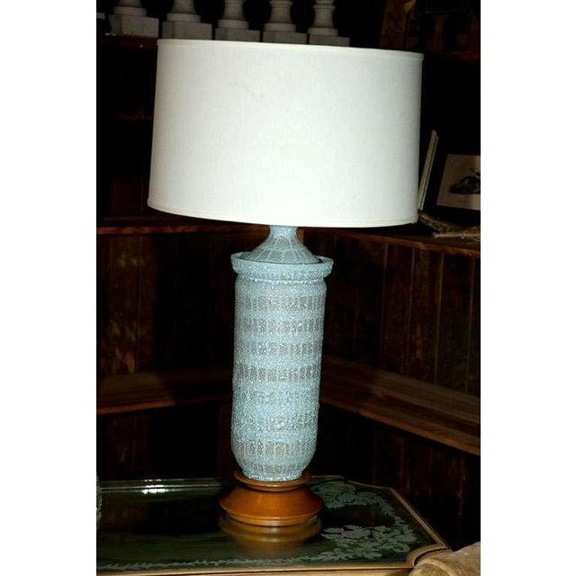 "1960s Vintage Pale Blue ""Lava"" Ceramic Lamp For Sale - Image 20 of 22"