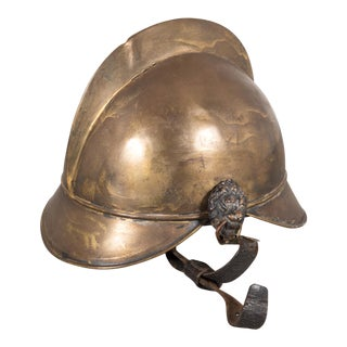 19th Century Brass French Fire Bridage Helmet C.1890s For Sale