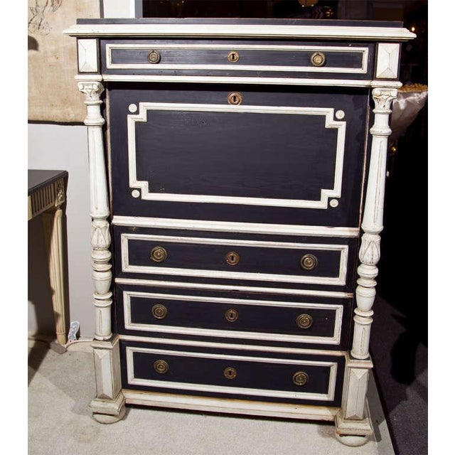 A charming Swedish Gustavian Style secretaire a abattant, late 19th to early 20th century, overall black and white...