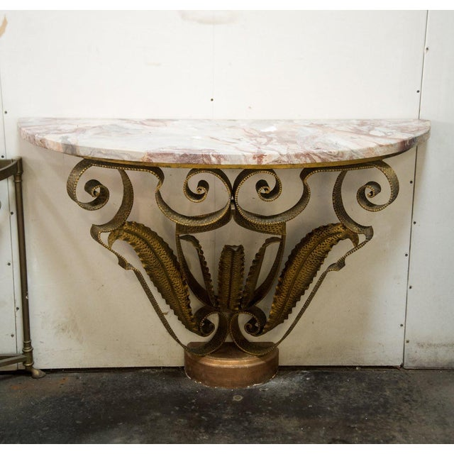 Mid-Century Italian Marble and Brass Demi-Lune Console Table For Sale - Image 13 of 13