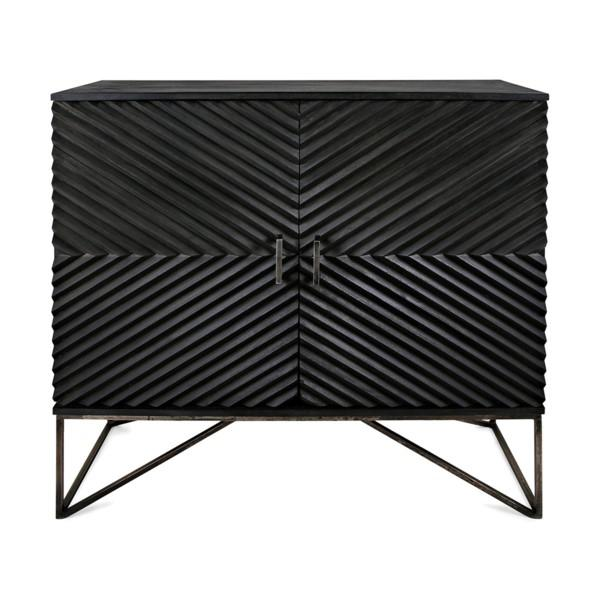 Black Geometric Wood Two Door Cabinet - Image 3 of 12