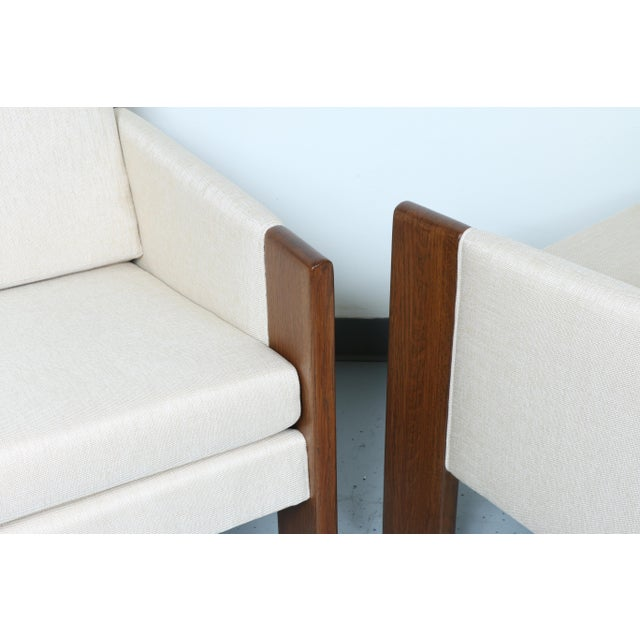 Walnut pair of Cubed Lounge Chairs - Image 8 of 10