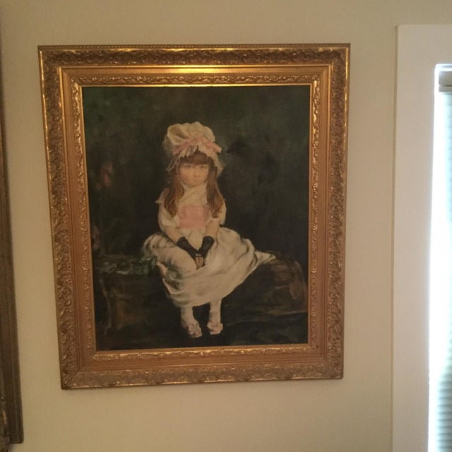 Antique Young Girl Oil Painting - Image 2 of 3