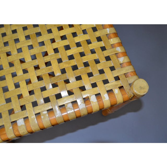 1970s McGuire Mid-Century Modern Bamboo and Hand-Woven Leather Top Side Table / Stool For Sale - Image 5 of 13