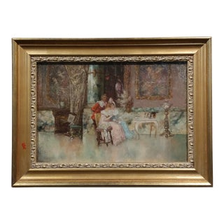 C. Monte - Women at Tea Time - French 18th Century Oil Painting