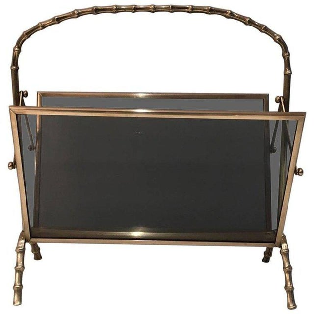 Faux Bamboo Bronze Magazine Rack by Maison Baguès, Circa 1940 - Image 11 of 11