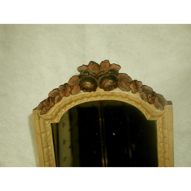 Mediterranean Antique 19th C. Petite Carved Wooden Arched Mirror For Sale - Image 3 of 7