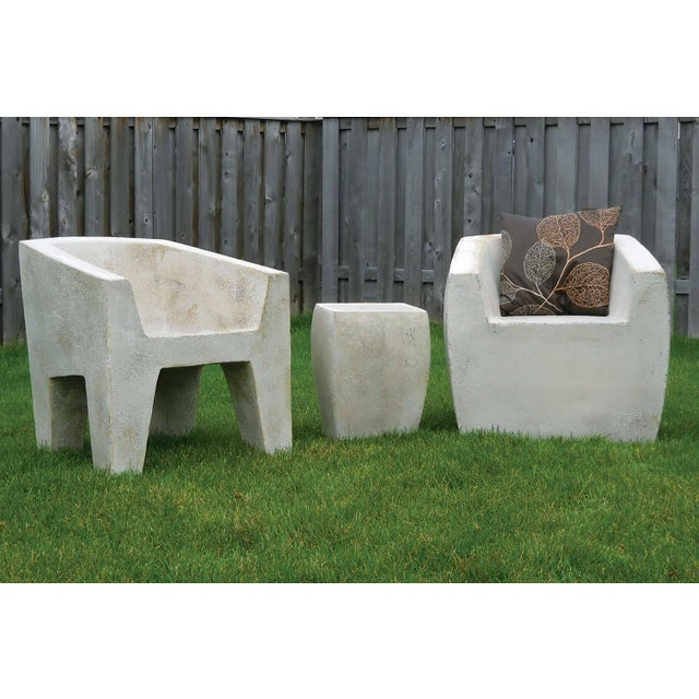 Plastic Zachary A. Design Gray Stone Cast Resin 'Van Eyke' Club Chair For Sale - Image 7 of 9