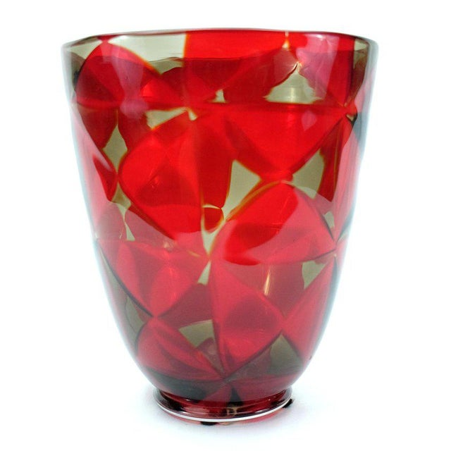 Art Glass Barovier & Toso Red Mosaic Triangle Murano Glass Vase For Sale - Image 7 of 7